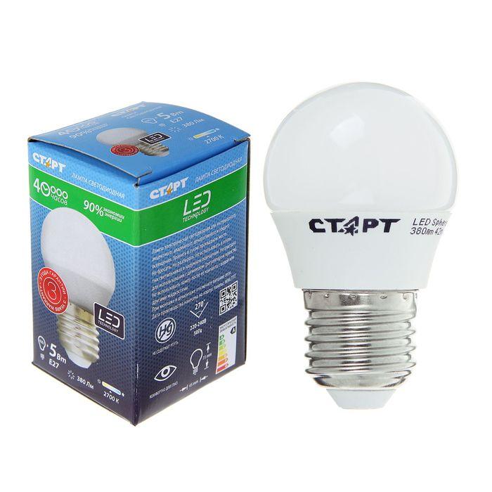"""Лампа светодиодная """"Старт"""", E27, 5 Вт, 2700 К, тёплый свет"""