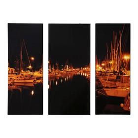 """Модульная картина на подрамнике """"Римини: ночь"""", 25×65, 30×65, 25×65 см, 80×60 см"""