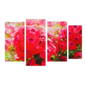 """Модульная картина на подрамнике """"Флоксы"""", 30×60, 30×70, 30×60, 20×50 см"""