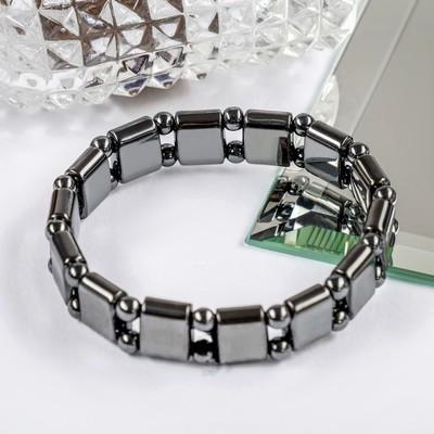 "Bracelet ""Hematite"" rectangle using two balls"