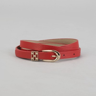 "Belt ladies ""Lock"", matte finish, buckle and yoke gold, width - 1cm, red"