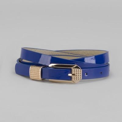 Belt women's Chic, sleek, varnished, buckle and yoke in gold, width - 1.3 cm, blue
