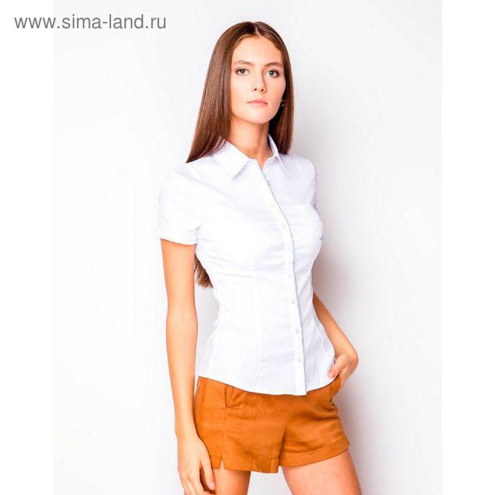Блузка женская с коротким рукавом (905В-132153-1), размер 44, цвет белый (полосатый воротничок)