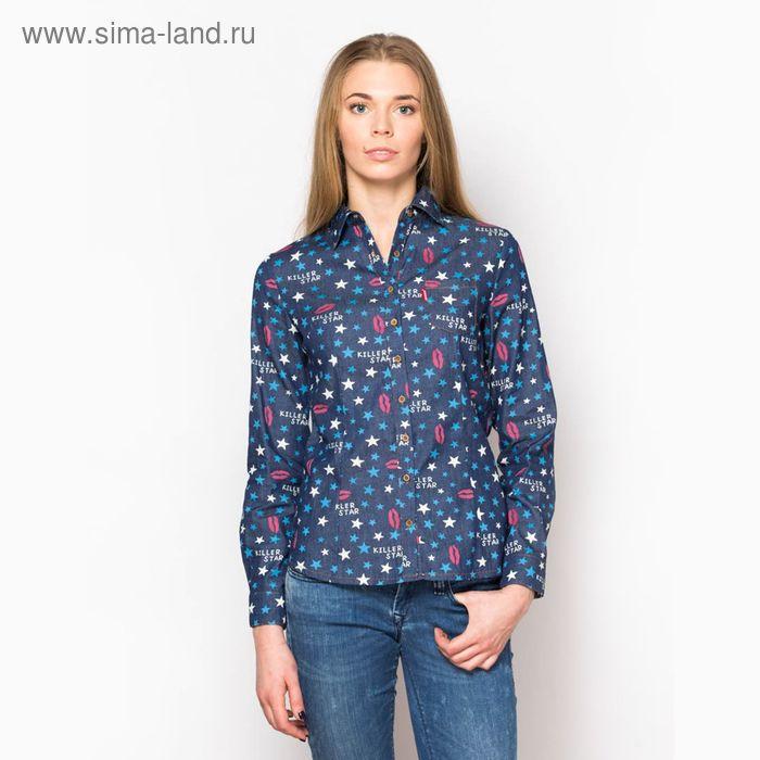 Блузка женская с длинным рукавом (15116), размер 48, цвет джинс