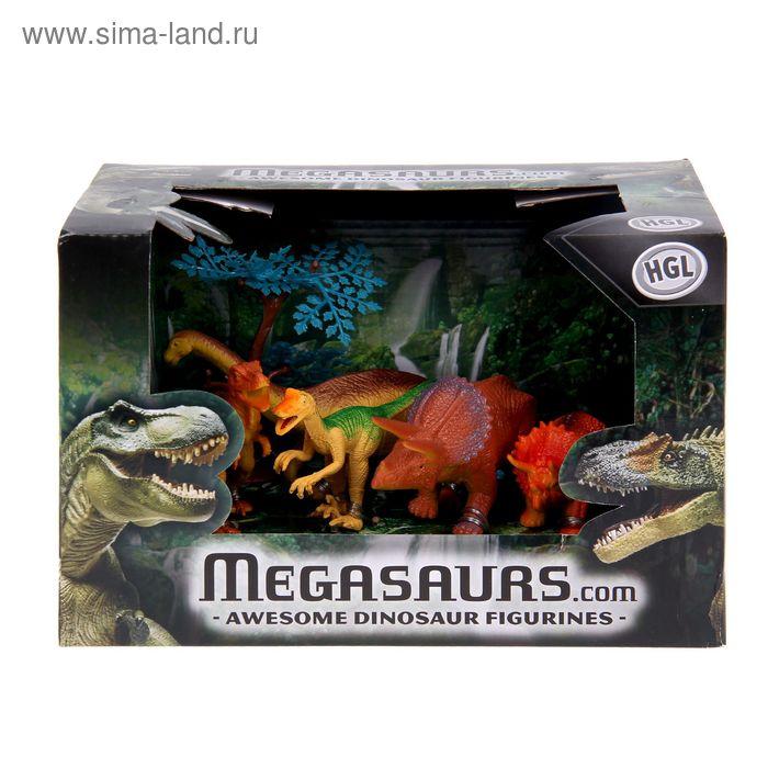 """Игровой набор """"Динозавры"""", 5 фигурок + дерево, МИКС"""