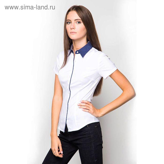Блузка женская с коротким рукавом (905А-132155-1), размер 48, цвет белый (синий воротничок)
