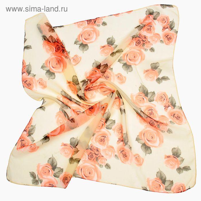 """Платок женский """"Чайная роза, размер 70х70 см"""