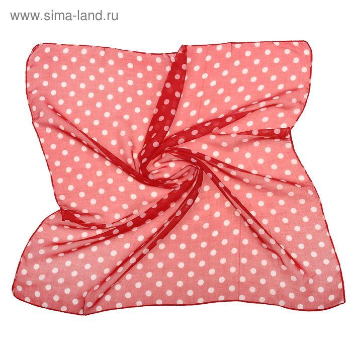 """Платок женский """"Горошек"""", размер 70х70 см, цвет красный"""