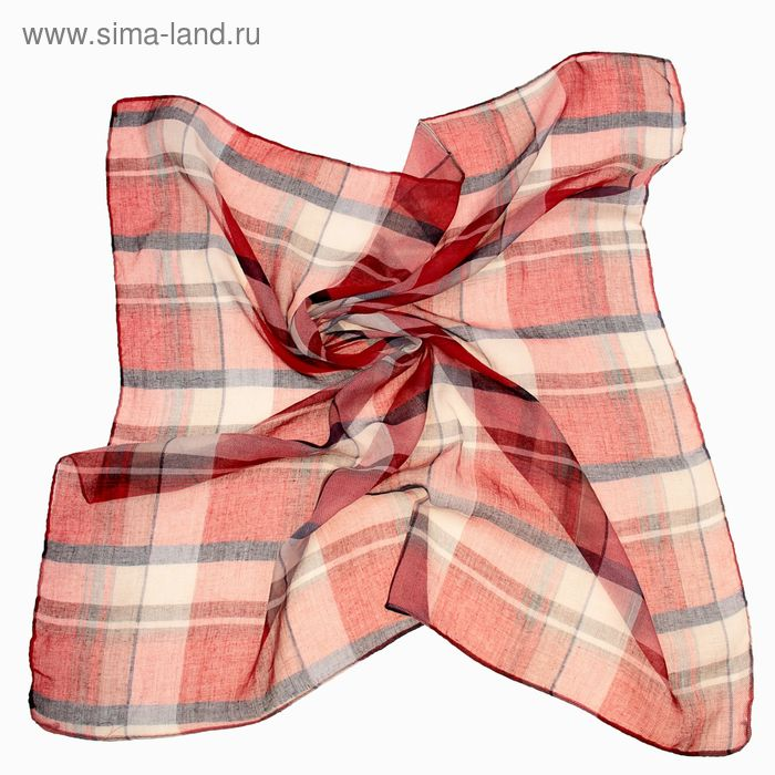 "Платок женский ""Клетка"", размер 90х90 см, цвет бордо"
