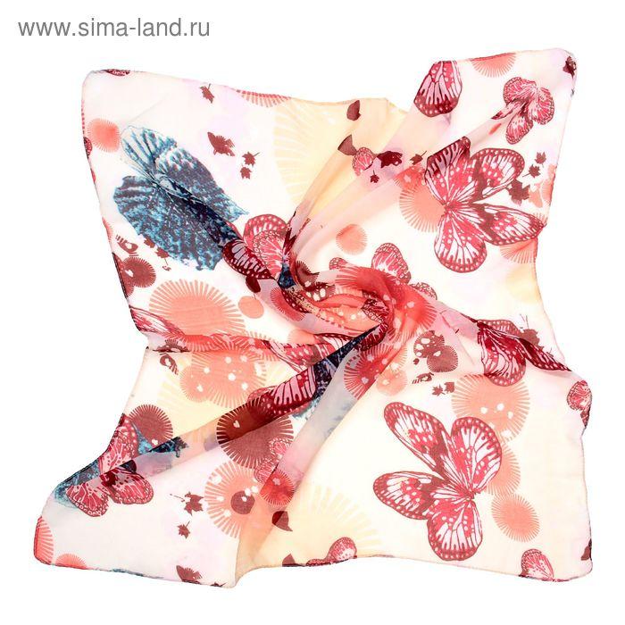 "Платок женский ""Бабочки"", размер 70х70 см"