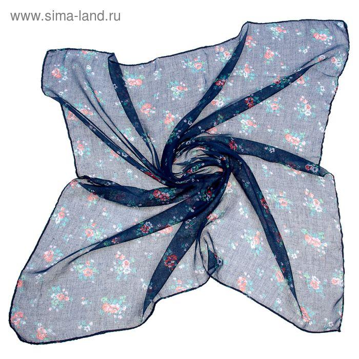 """Платок женский """"Цветочки на синем"""" размер 90х90 см"""