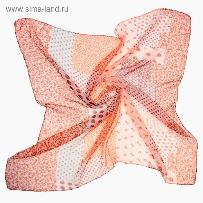 """Платок женский """"Абстракция"""", размер 90х90 см, цвет коралловый"""