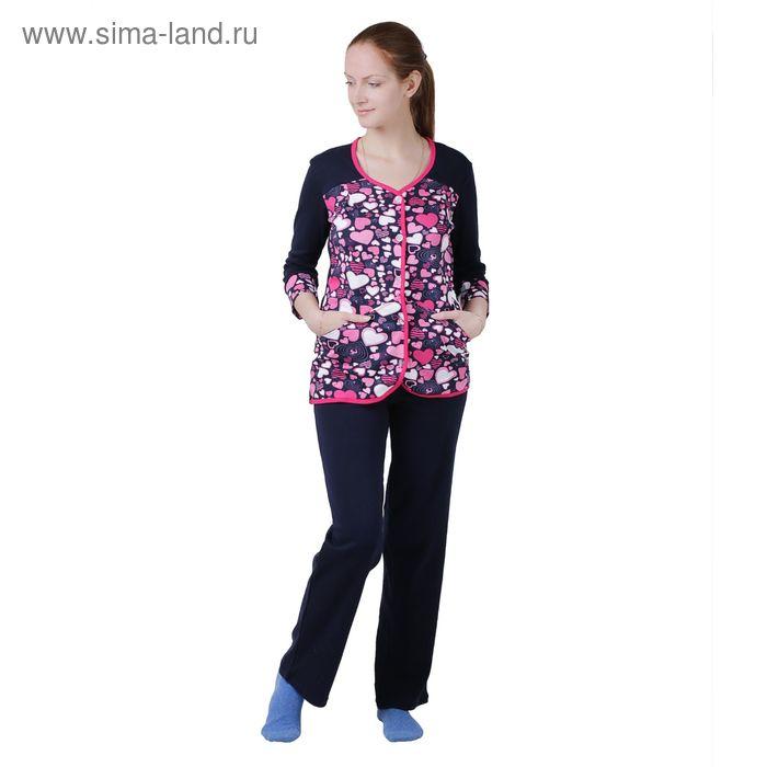 Комплект женский (фуфайка, брюки) К-29 синий, р-р 44 интерлок