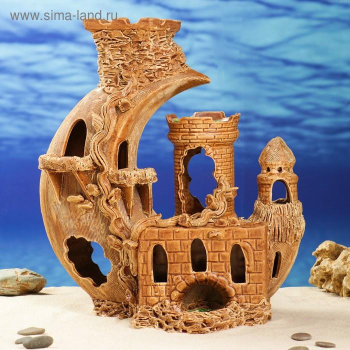 """Декорации для аквариума """"Замок с наклонной башней"""""""