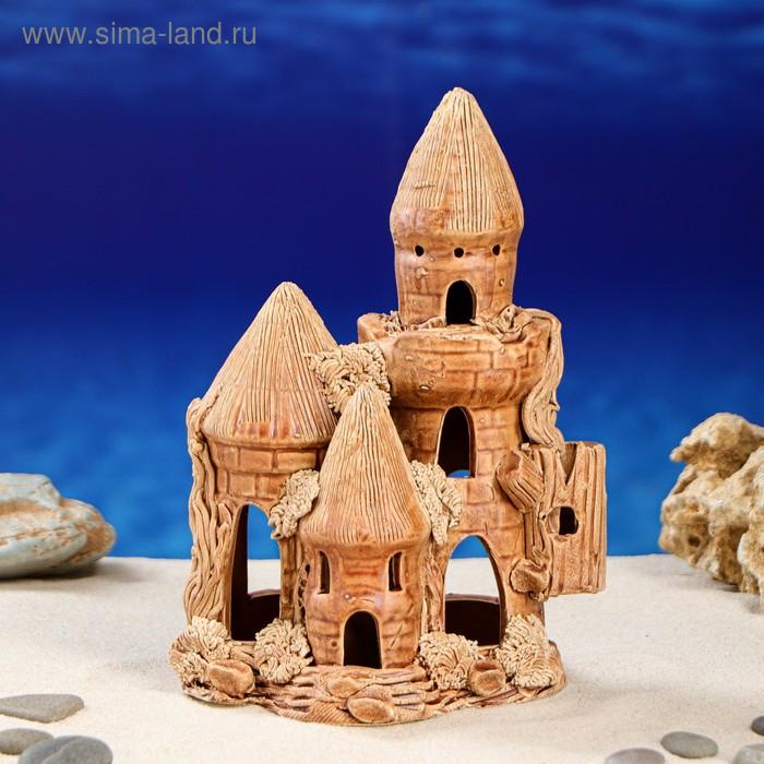 """Декорации для аквариума """"Замок с рельефными башнями"""" малый"""
