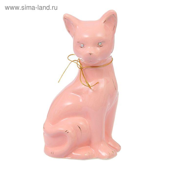 """Копилка """"Кошка Лиза"""" большая, глазурь, розовая, тесьма"""