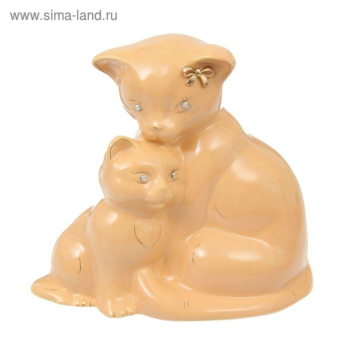 """Копилка """"Кошка с котёнком"""" глазурь, кремовая"""