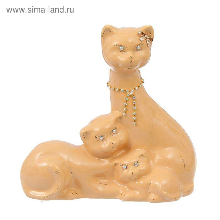 """Копилка """"Семейство котиков"""" средняя, глазурь, кремовая, цепочка"""