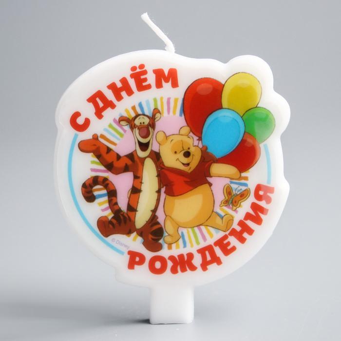 """Свеча в торт Дисней """"С днем рождения"""" Медвежонок Винни"""