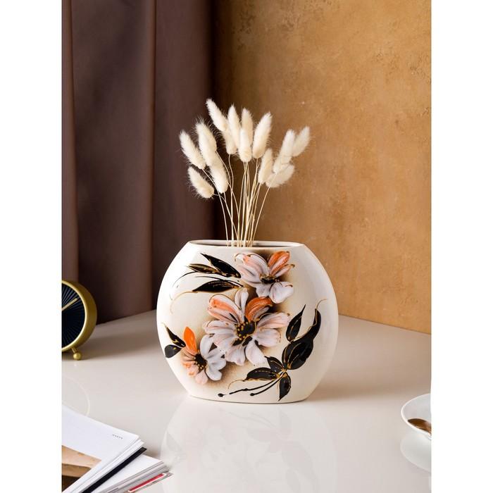 """Ваза настольная """"Классик"""", глазурь, цветы, 20 см, микс, керамика"""