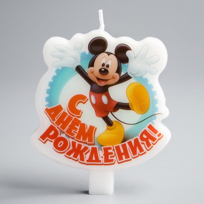 """Свеча в торт Дисней """"С днем рождения"""" Микки Маус - фото 35610004"""