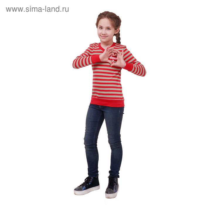 Джемпер для девочки, рост 152 см (80), красный/серая полоска Р827592