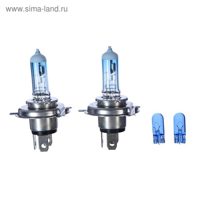 Лампа автомобильная Philips White Vision, H4, 12 В, 60/55 Вт, набор 2 шт.