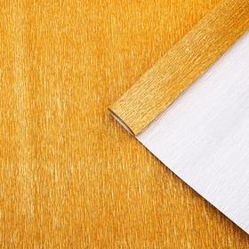 Бумага гофрированная 807 античное золото металл, 50 см х 2,5 м