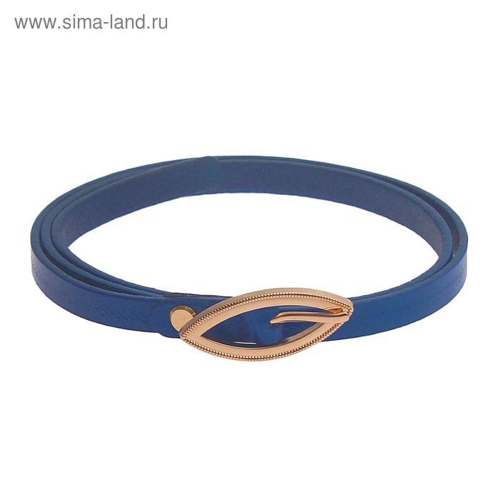 Ремень женский, винт и пряжка под золото, ширина - 1см, синий