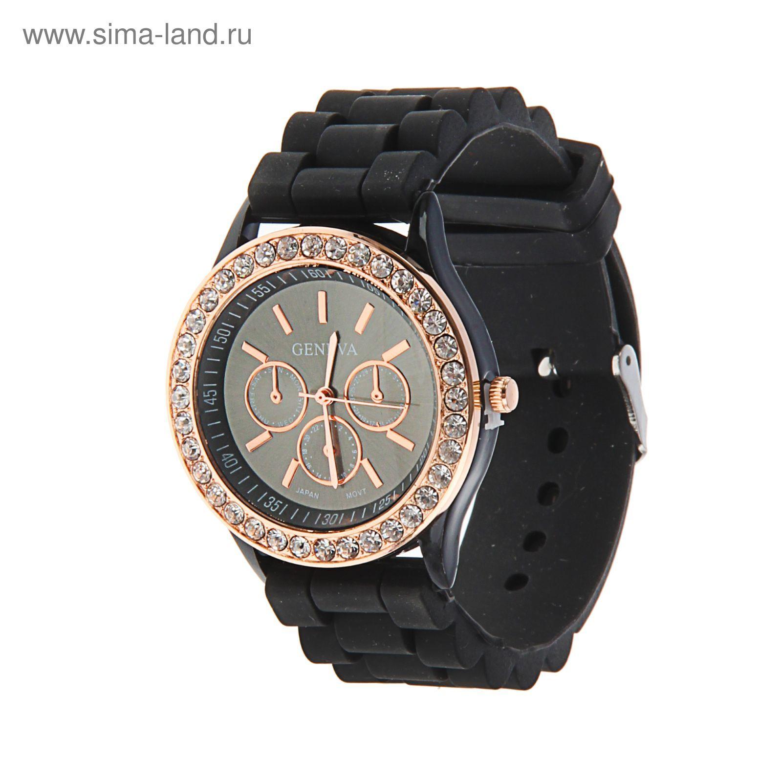 01df1c80 Часы наручные женские Женева 3 циферблата, корп со стразами, силикон  ремешок черн