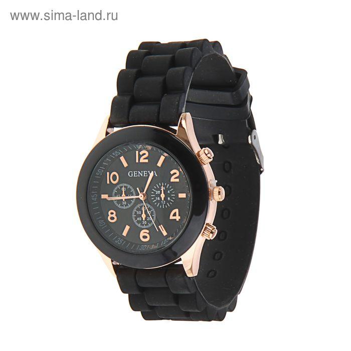 Часы наручные женские Женева 4 циферблата силиконовый ремешок черный