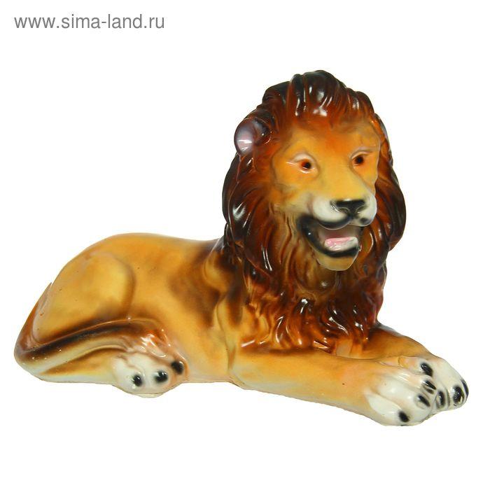 """Садовая фигура """"Лев"""" жёлто-коричневая, глянец"""