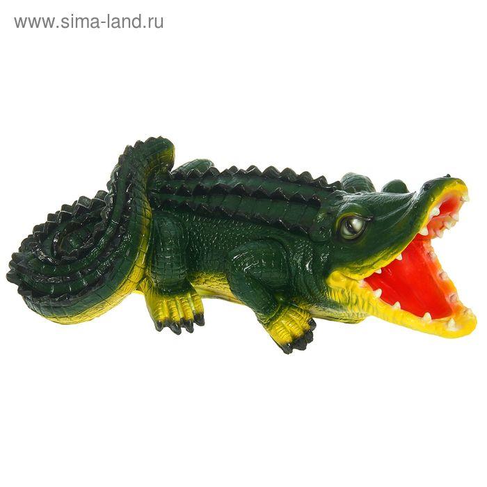 """Садовая фигура """"Крокодил"""" большая, тёмно-зелёная, жёлтый животик"""