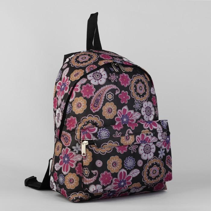 Рюкзак молодёжный, 1 отдел, наружный карман, чёрный