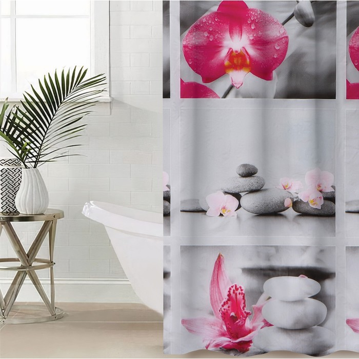 """Shower curtain 180×180 cm """"Rocks and Orchid"""", EVA"""