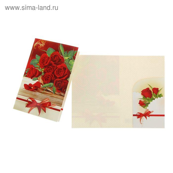 """Открытка """"  Цветы""""  Красные розы, бант"""