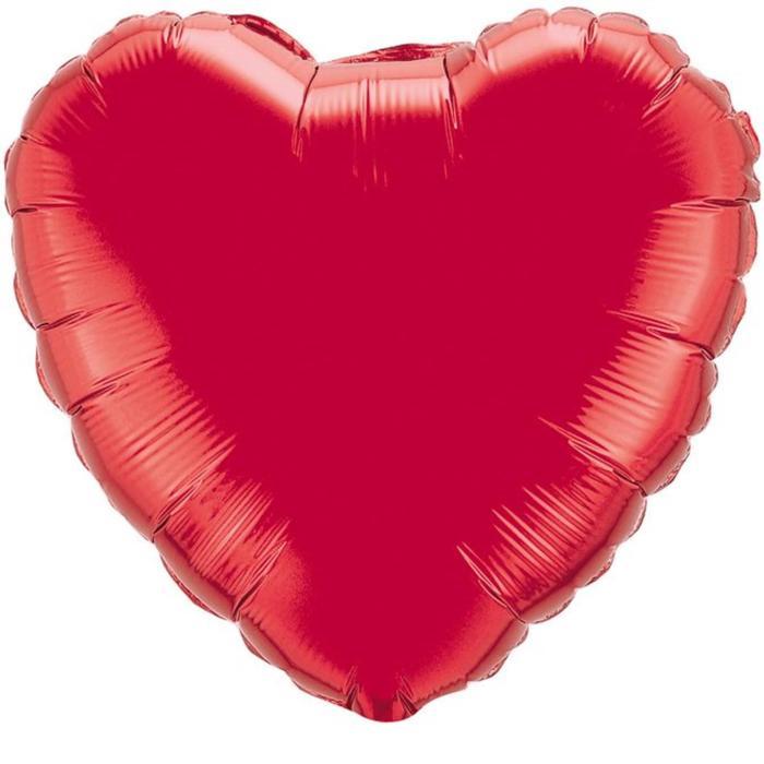 """Шар фольгированный 32"""" «Сердце» без рисунка, металл, цвет красный - фото 7442916"""