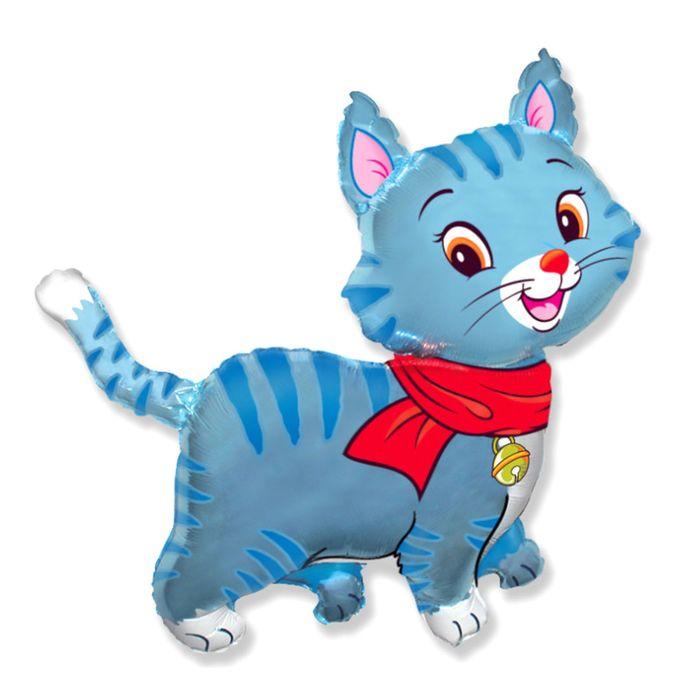 """Шар фольгированный 30"""" «Кошечка», с шарфом, цвет голубой - фото 957998"""