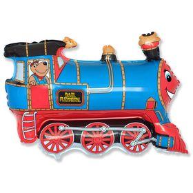 """Шар фольгированный 30"""" «Поезд», цвет голубой"""