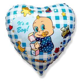 """Шар фольгированный 18"""" «Младенец-мальчик», сердце"""
