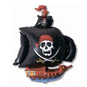 """Шар фольгированный 30"""" «Корабль пиратский», цвет чёрный"""