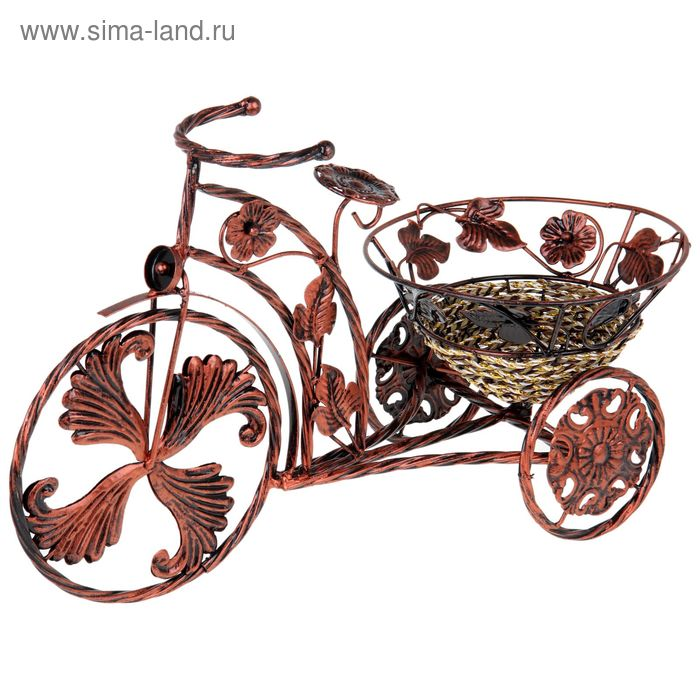 """Кашпо """"Велосипед"""" ретро, бронза"""