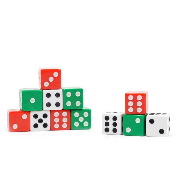 Кости игральные Dice Set, 1,5 х 1,5 см, цветные, набор 12 шт. в блистере