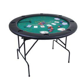 Покерный стол складной для 8 игроков + 100 фишек + 2 колоды карт по 54 шт., 30 мкм + 5 кубиков