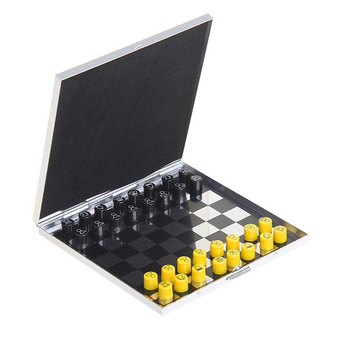 Шахматы набор, магнитные, цветные, металл, 10*10см