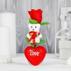 """Декор-украшение для букетов """"Мишка на сердечке с цветком"""""""