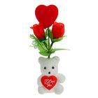 """Декор-украшение для букетов """"Мишка с сердечком и цветочками"""""""