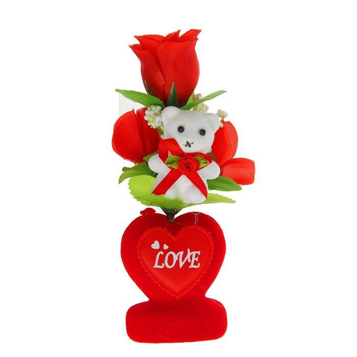 """Декор-украшение для букетов """"Мишка на сердечке с цветочками"""""""