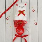 """Декор-украшение для букетов """"Мишка с сердечком и цветочком"""""""