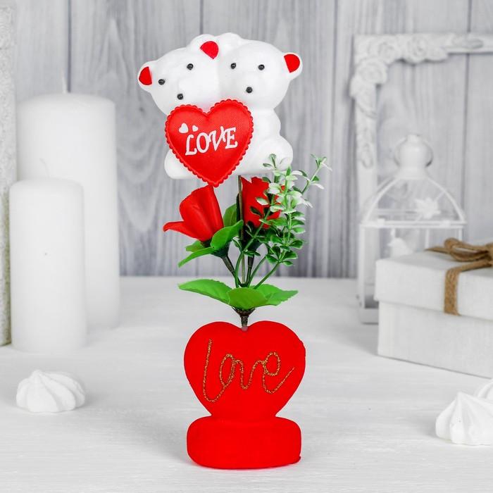 """Декор-украшение для букетов """"Влюбленные мишки """" с сердечком"""
